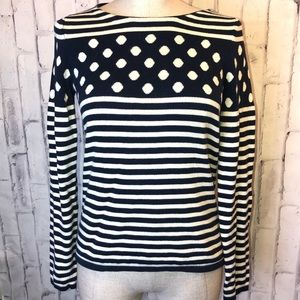 Anthro SPARROW blue white polka dots sweater